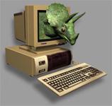 Computer met virtueel beestje