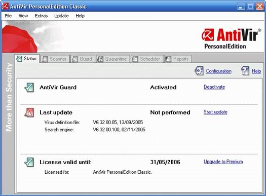 Antivir Personal Edition 7.0 screenshot (resized)