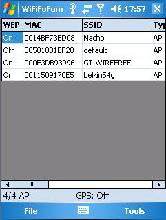 WiFiFoFum - lijst met draadloze netwerken