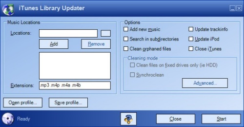 iTunes Library Updater - hoofdscherm