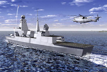 Artist Impression van de Daring Class destroyer