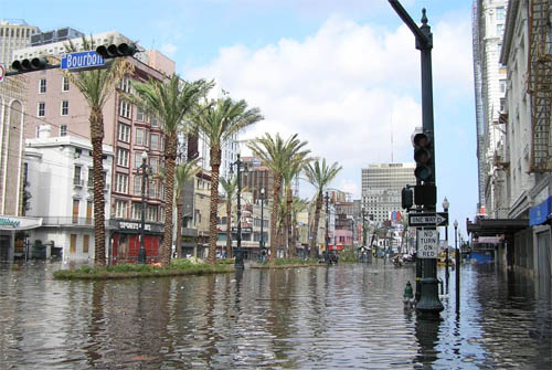 Bourbon Street, New Orleans, na orkaan Katrina