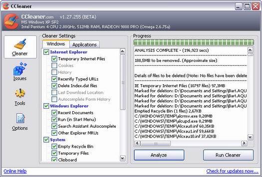 Crap Cleaner 1.27.255 beta screenshot (resized)