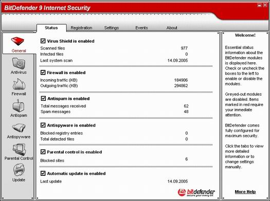 BitDefender 9 Internet Security main screen (resized)