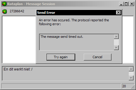 Miranda IM 0.4.0.2 - ICQ weigert berichten te versturen