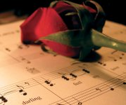 Muziekblad met roos