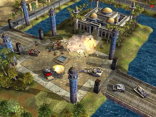 Command & Conquer - tank, ontploffing, gebouw enzo