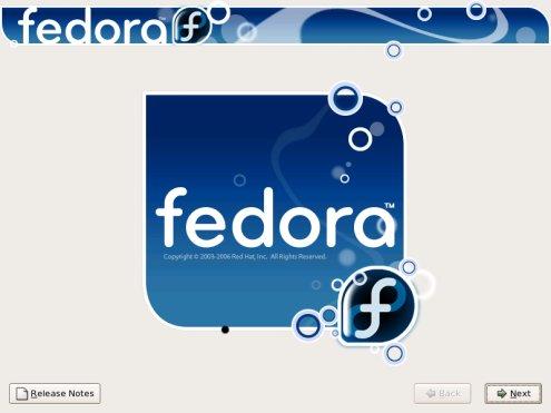 Fedora Core 5 - Loginscherm