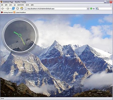 WPF/E klok over achtergrond in Firefox