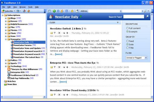 FeedDemon 2.0 screenshot (resized)