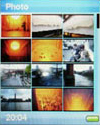 Sandisk e200-menu met foto'tjes
