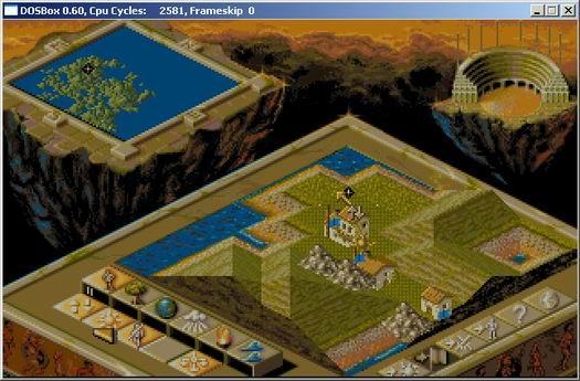 De klassieker Populous in DOSBox (resized)