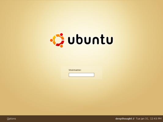 Ubuntu Linux 'Dapper Flight 4' - Inlogscherm
