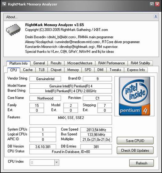 RightMark Memory Analyzer 3.6.5 screenshot (resized)
