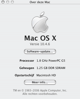 Apple Mac OS X 10.4.6 - About