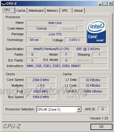 Conroe CPU-Z