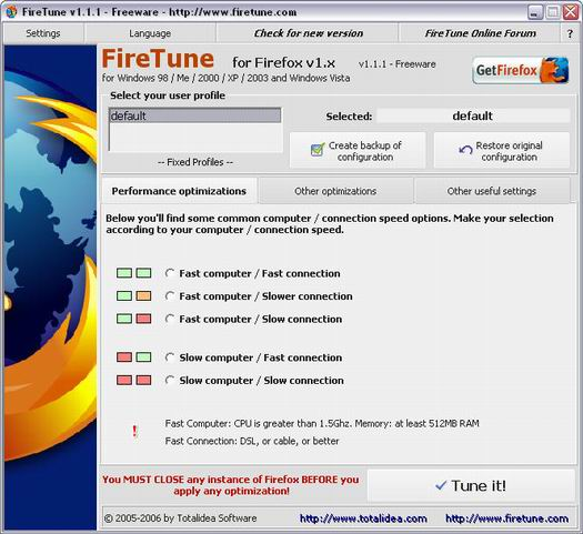 FireTune 1.1.1 screenshot (resized)