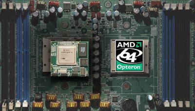 DRC-FPGA naast Opteron-chip