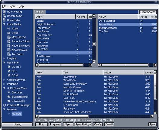 Winamp iPod Plugin screenshot (resized)