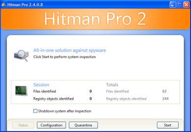 Hitman Pro 2.4 - beginscherm