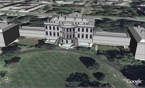 Het Witte Huis in Google Earth met Sketchup