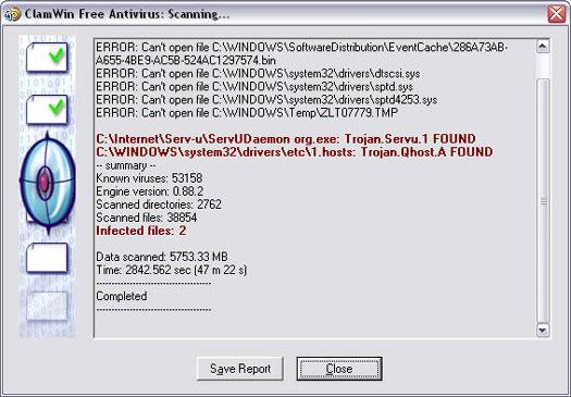ClamWin screenshot (resized)