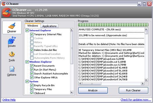 Crap Cleaner 1.29.295 screenshot (resized)