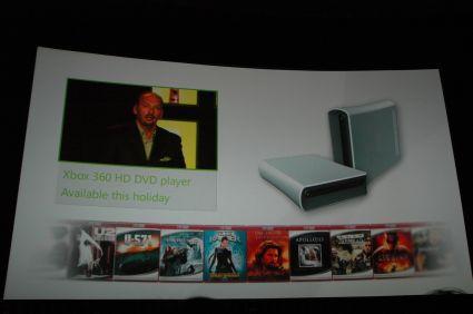HD-DVD-speler voor Xbox 360 tijdens persconferentie E3