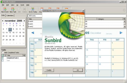 Mozilla Sunbird 0.3 alpha 1