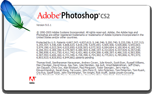 Adobe Photoshop CS2 9.0.1 - About