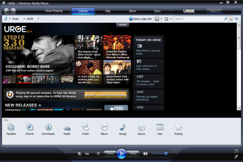 Microsoft Windows Media Player 11 beta (klein)