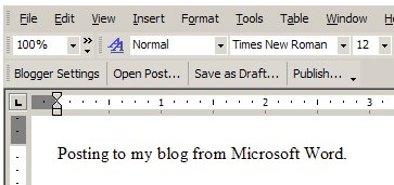 Screenshot (binnenkort overbodige?) Blogger for Word