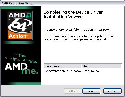 AMD processor driver installatie screenshot