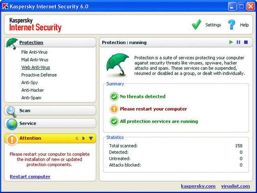 Kaspersky Internet Security 6.0 screenshot (resized)