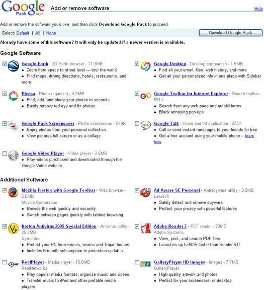 Google Pack - programma's selecteren (resized)