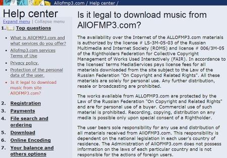 AllofMP3 legaliteit