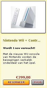 Voorinschrijving Nintendo Wii bij Bart Smit op 31 mei, 's ochtends