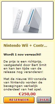 Voorinschrijving Nintendo Wii bij Bart Smit op 31 mei, 's middags