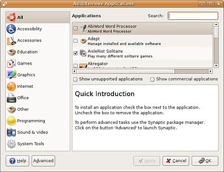 Ubuntu Dapper Drake Add/Remove applications (verkleind)