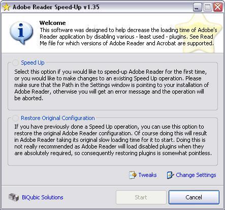 Adobe Reader Speed-Up 1.35 screenshot