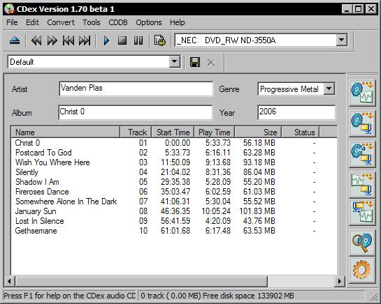 CDex 1.70 beta 1 - hoofdscherm