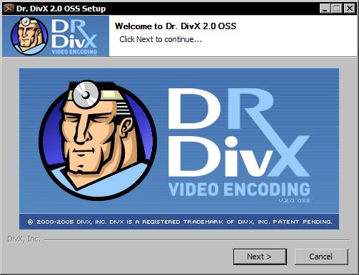 Dr. DivX 2.0 RC1 - installatiescherm