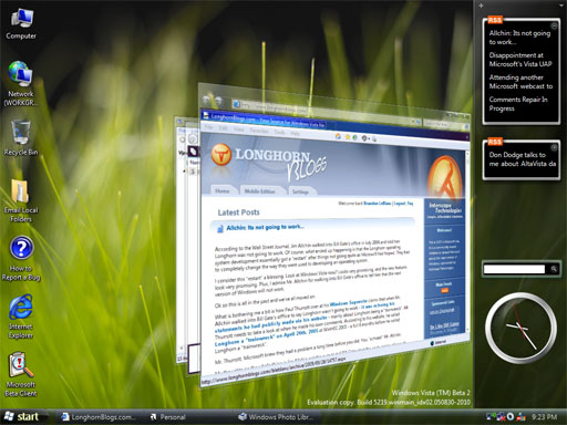 Microsoft Windows Vista build 5219-screenshot