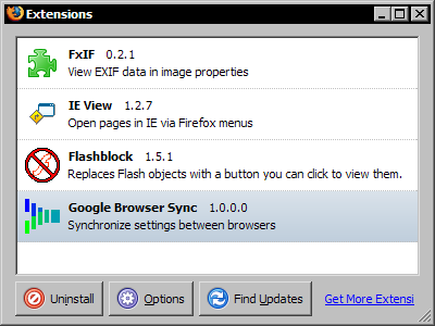 Google Browser Sync 1.0.0.0 - Extensions