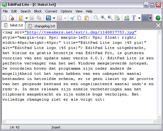 EditPad Lite 6.0.1 screenshot