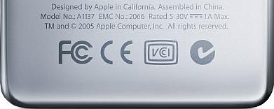 iPod nano: designed in California; assembled in China