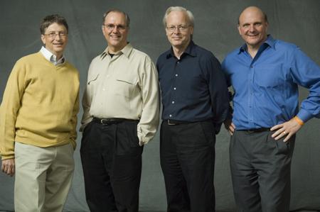 Bill Gates, Craig Mundie, Ray Ozzie en Steve Ballmer
