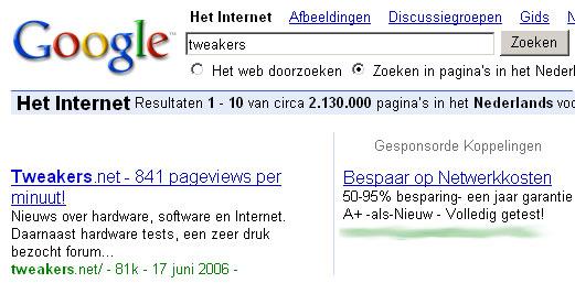 Google-resultaten voor tweakers met reclame