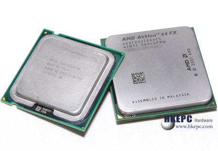 Core 2 Extreme X6800 en Athlon 64 FX-62 (AM2) naast elkaar