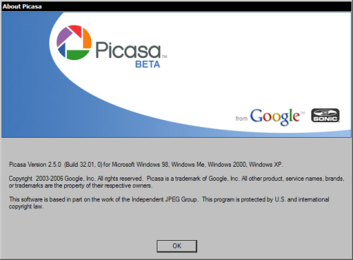 Google Picasa 2.5.0 build 32.01 - about